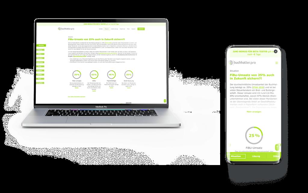 Webseite Buchhaltung Screendesign Web-Anwendung Software Responsive Design