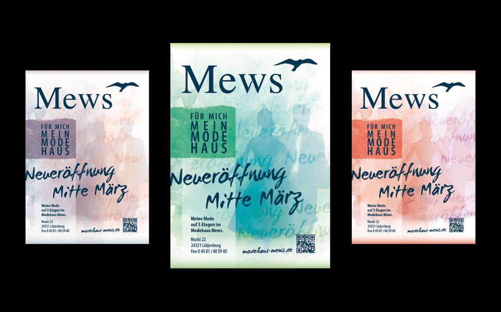 Flyer Anzeige Neueröffnung Modehaus Mews Gestaltung