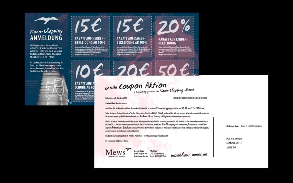 Modehaus Mews Kundenmailing Postkarte Einladung Dialogpost Layout Gestaltung