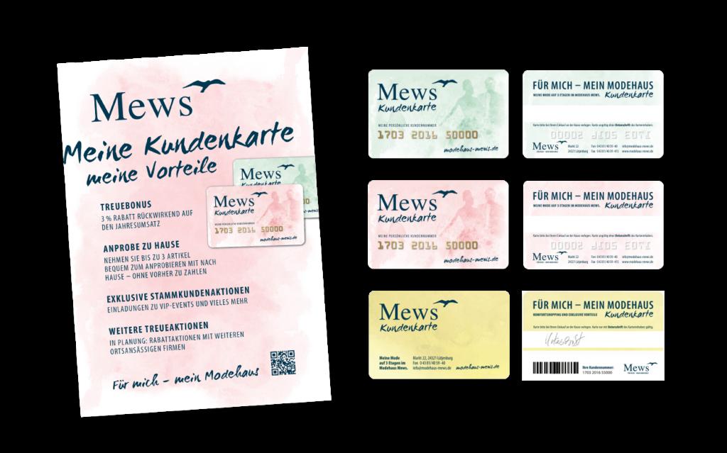 Modehaus Mews Kundenkarte Aufsteller A4 Plastikkarte Gestaltung Layout