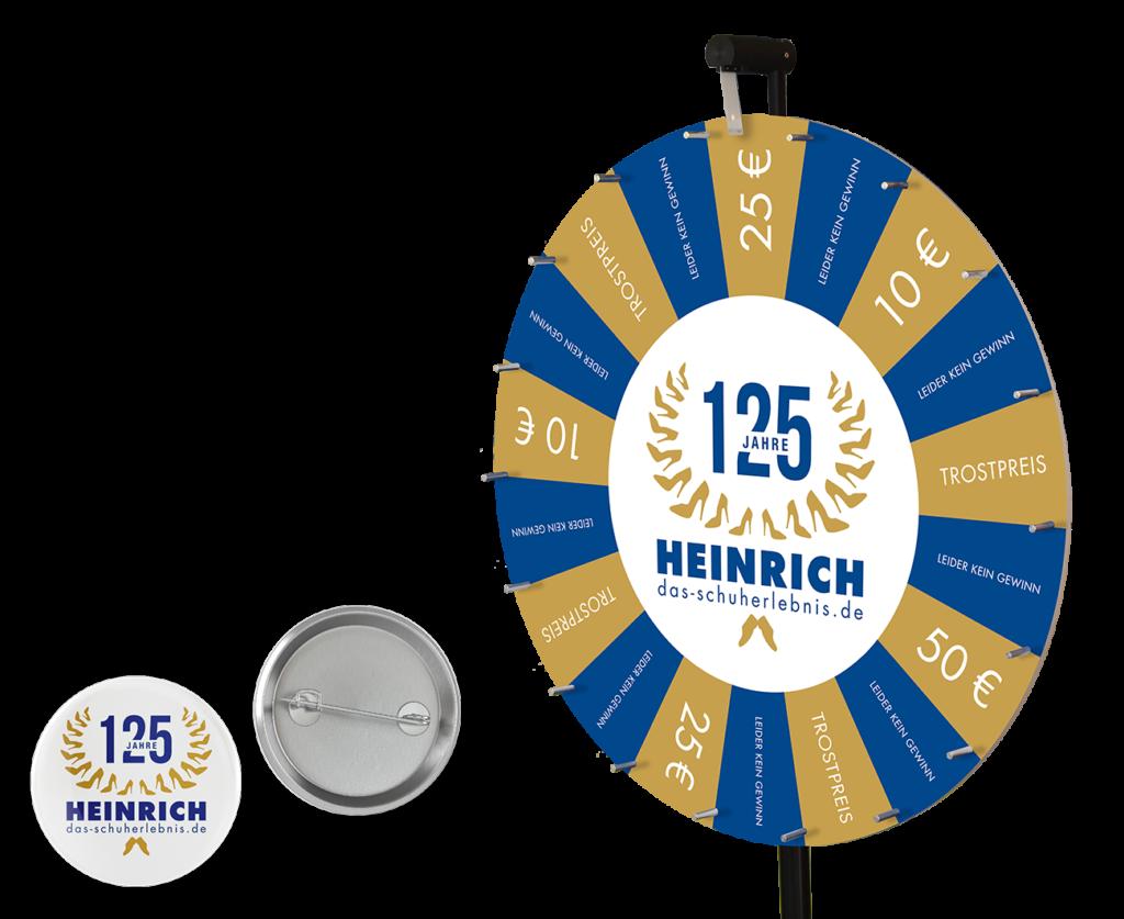 Glücksrad Buttons Gestaltung Kampagne Schuhgeschäft Kiel Mockup