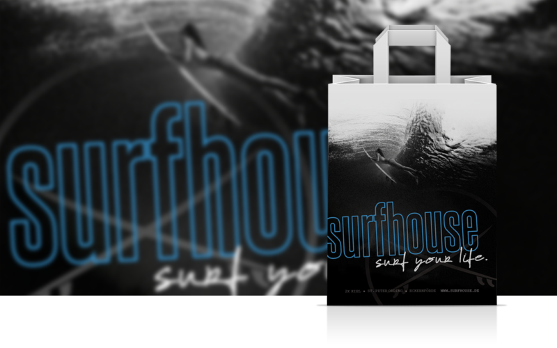surfen surfhouse Einkaufstüte gebrandet Corporate Design Mockup Gestaltung
