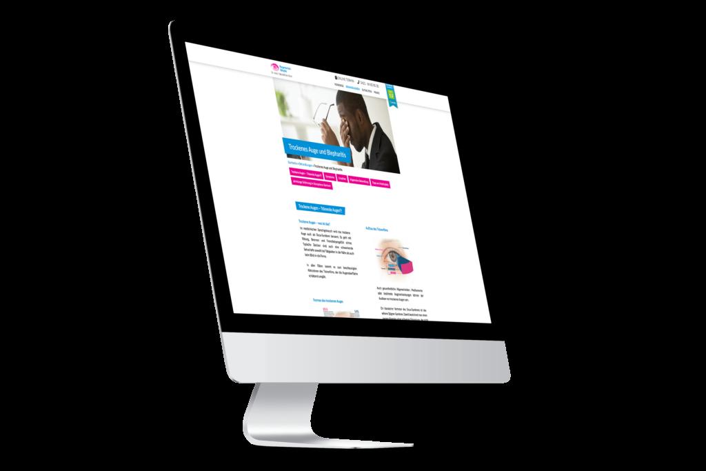 Webseite Screendesign Augenarzt Mockup