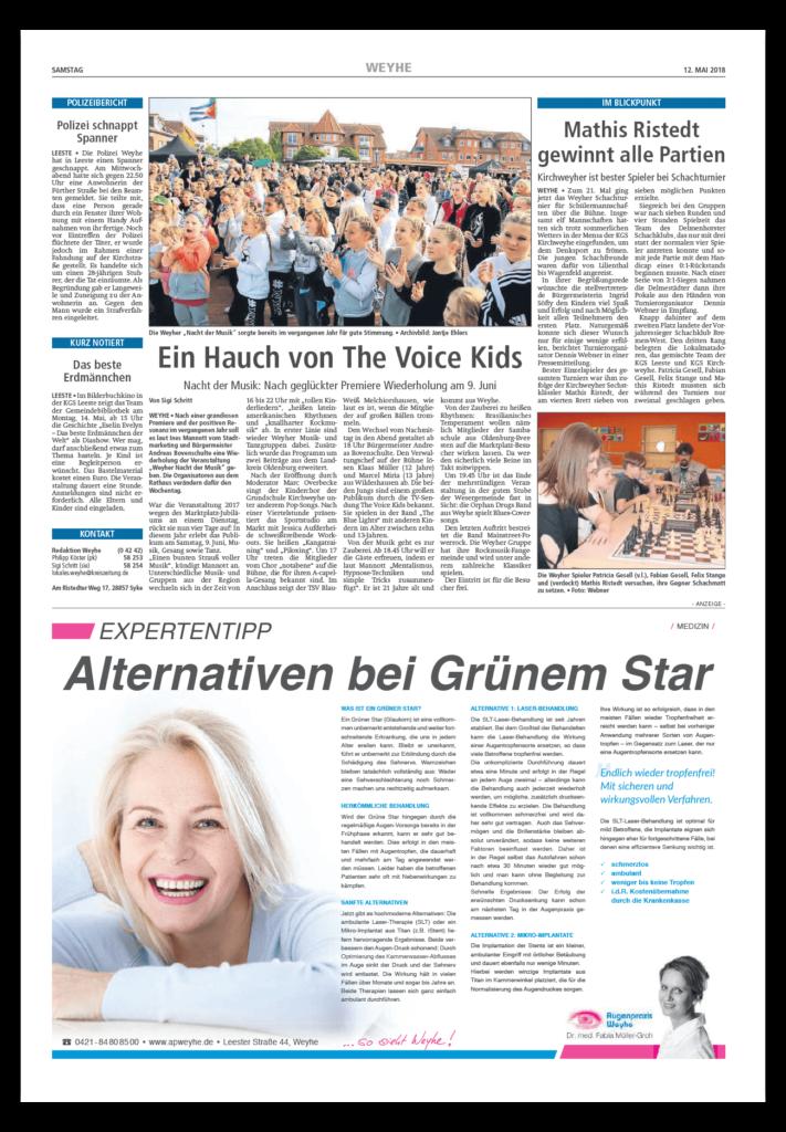 Anzeige Zeitung Augenarzt Expertentipp
