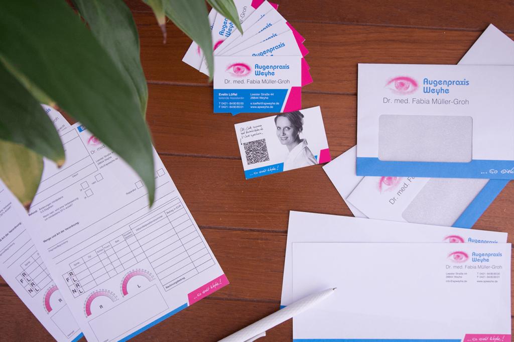 Geschäftsausstattung Augenarzt Praxis Corporate Design Briefpapier Visitenkarte