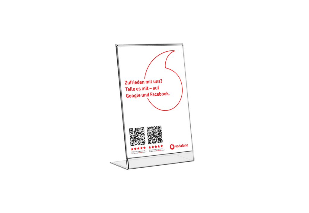 Bewertung Feedback Kundenmeinung A4 Aufsteller Gestaltung Mockup