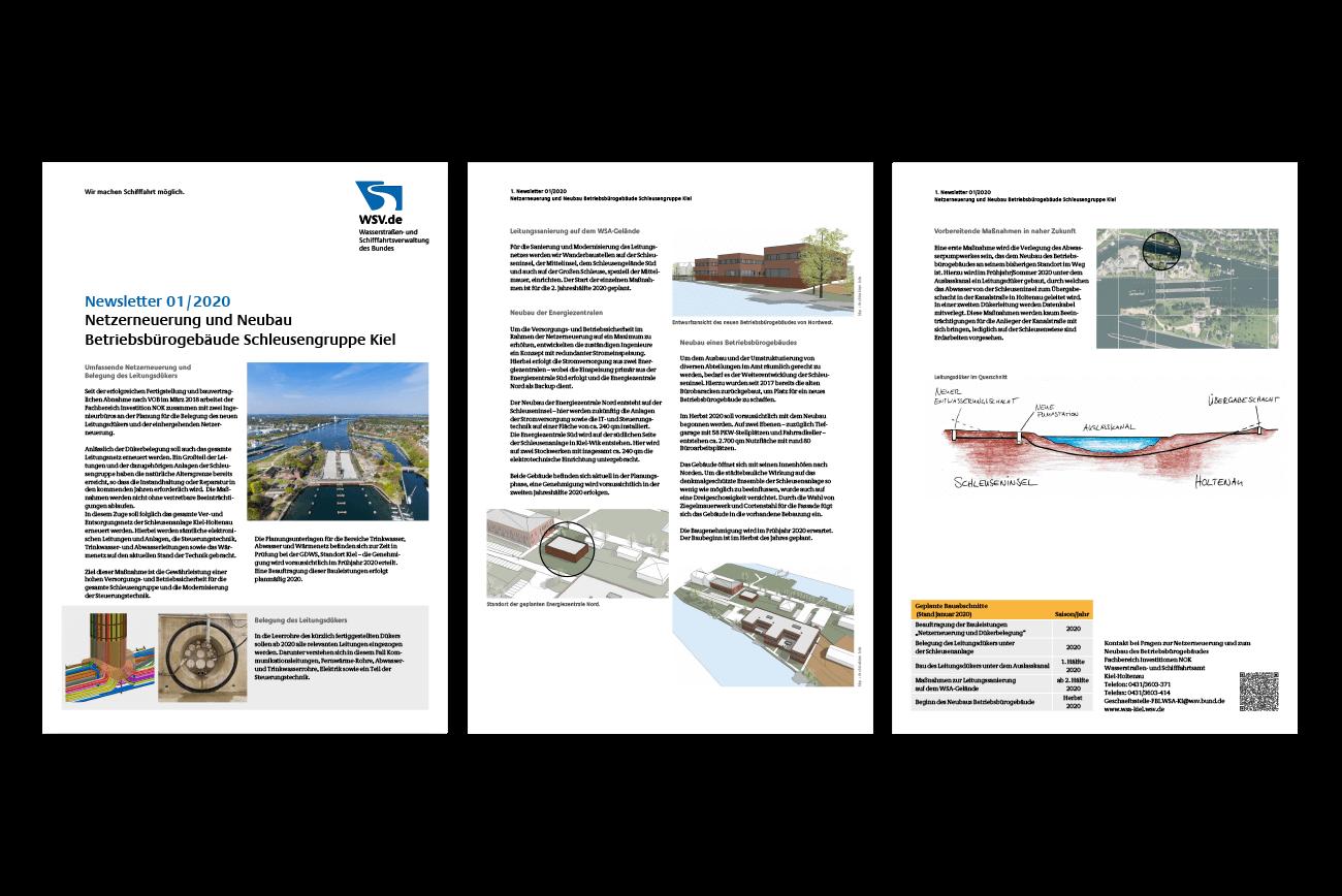 Broschüre Newsletter Gestaltung Amt Wasser- und Schifffahrtsverwaltung