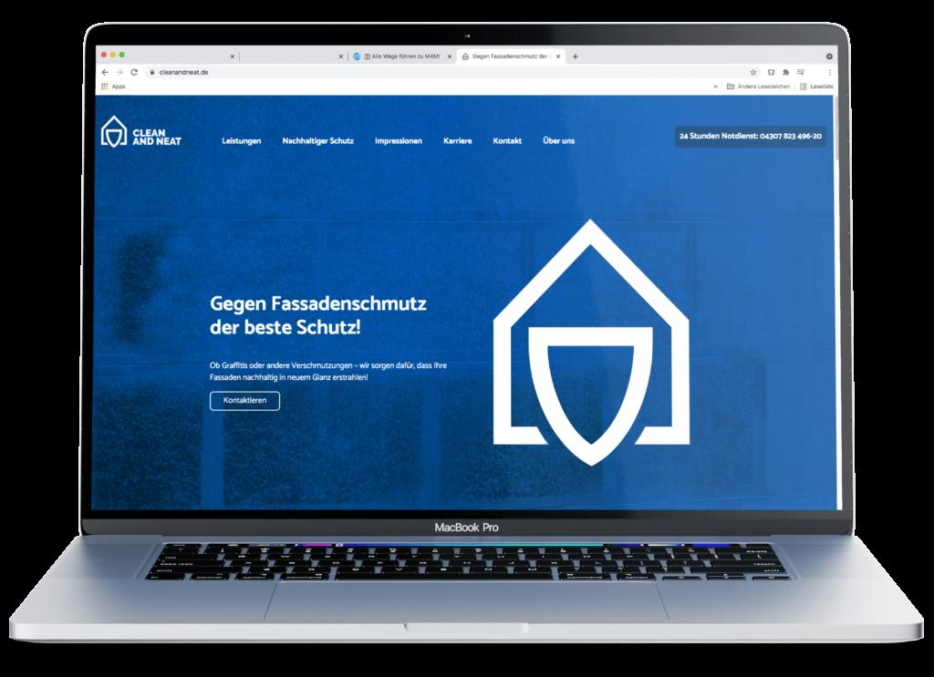 Internetseite Screendesign Reinigung