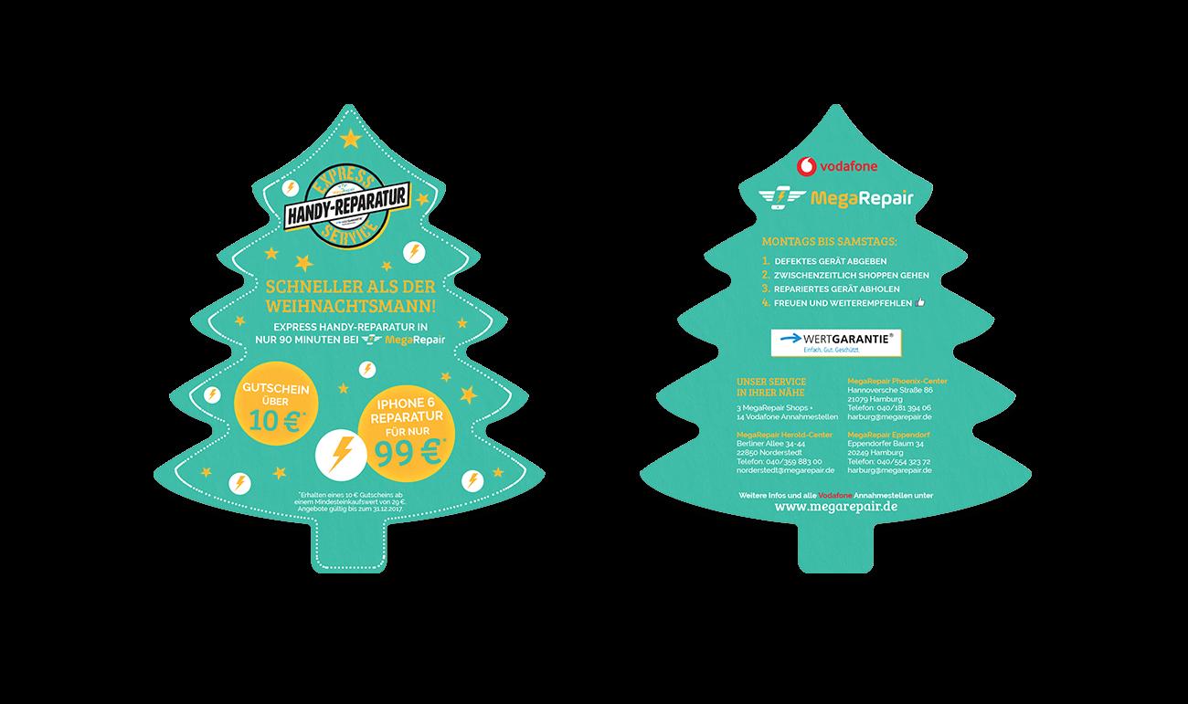 Flyer Sonderform Tannenbaum Weihnachtsflyer Gestaltung Layout