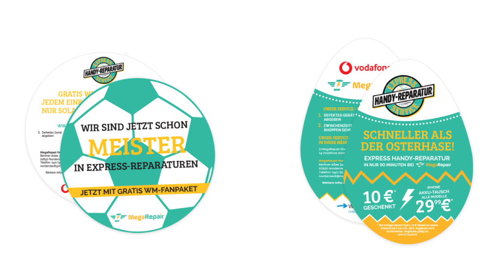 Flyer Sonderform Gestaltung Aktionsflyer Fußball Ostern