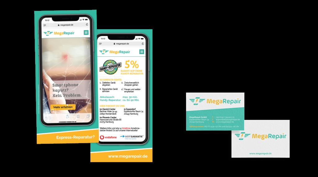 Flyer Smartphone Gestaltung DIN lang Visitenkarte Querformat Layout