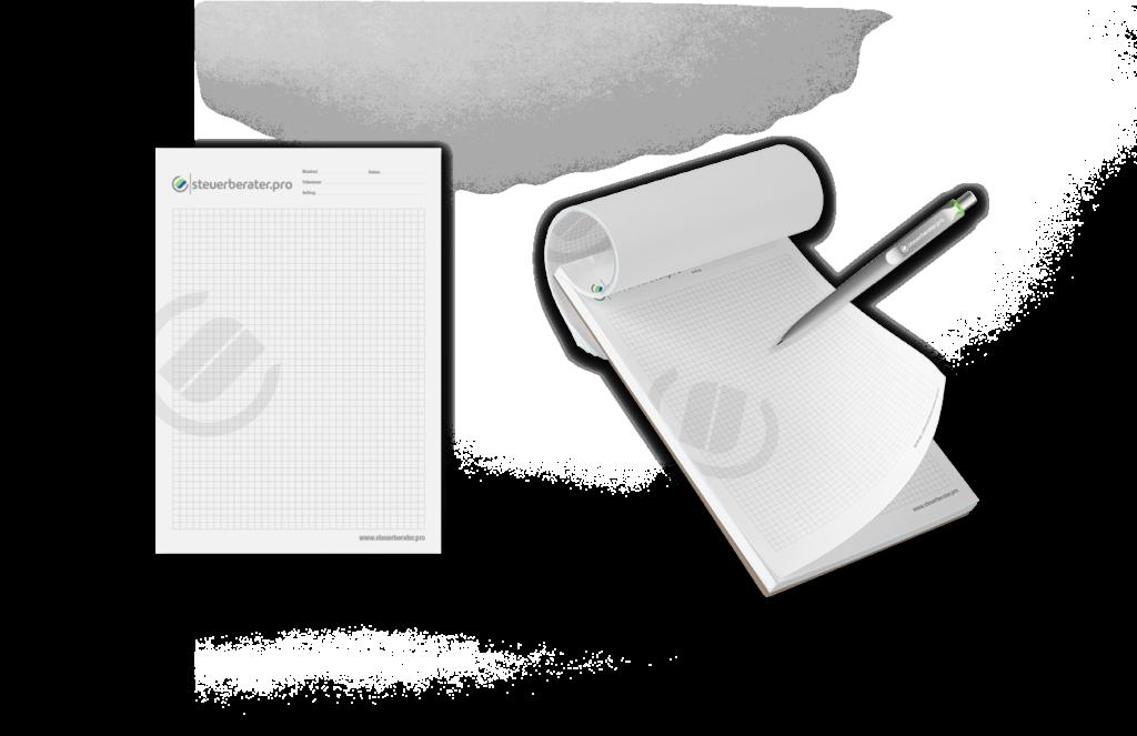Notizblock DIN A5 Corporate Design Geschäftsausstattung Kugelschreiber Layout Mockup